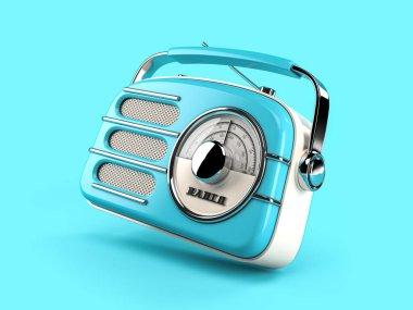 Blue vintage radio on blue background. 3d illustration