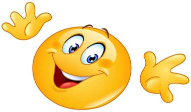 Emoticon making a ta-da gesture with open palms, horizontally jazz hands