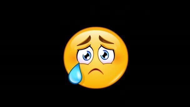Animace plačící obličej smajlík s slza včetně alfa kanál