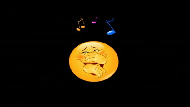 Animation of a dancing emoticon to musical notes including alpha channel