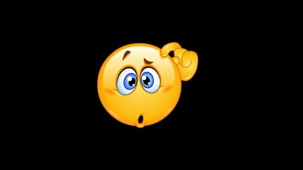 Animation of a confused emoticon scratching his head including alpha channel