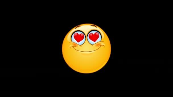 Animace v lásce emotikonu tvář s srdci místo očí včetně alfa kanál