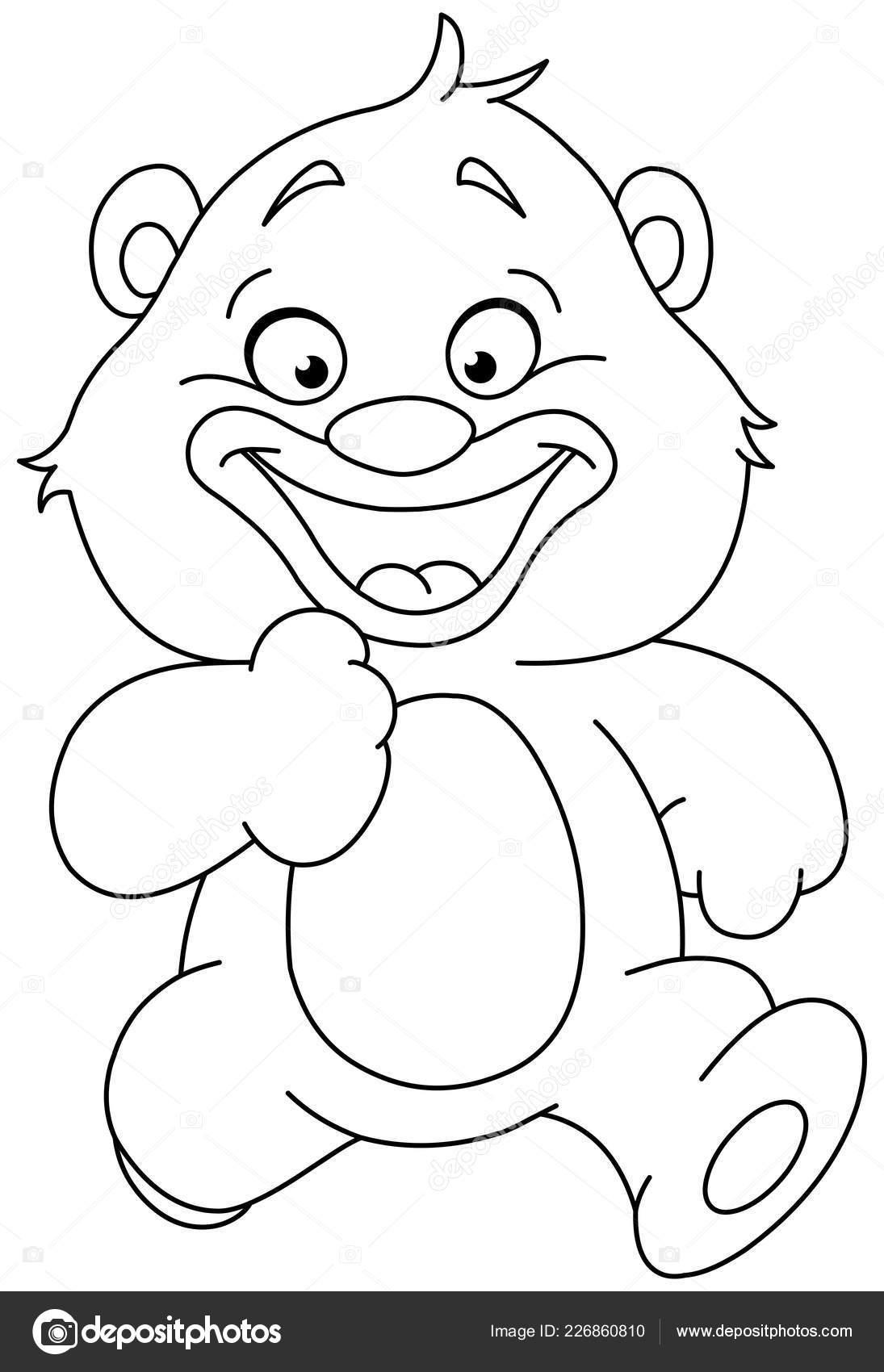 Happy Teddybär Ausführung Beschrieben Linie Art Vektorgrafik