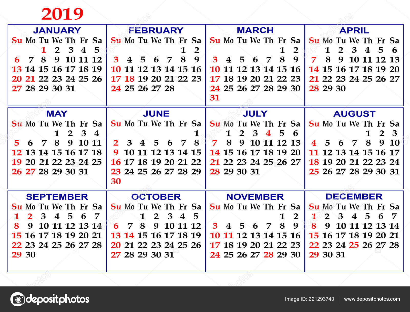 Calendar Grid 2019 Twelve Months White Background Stock Photo Image By Ekipaj 221293740