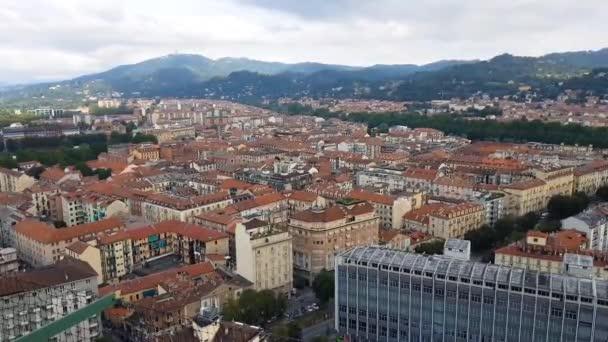 Letecký pohled na Turín, Itálie