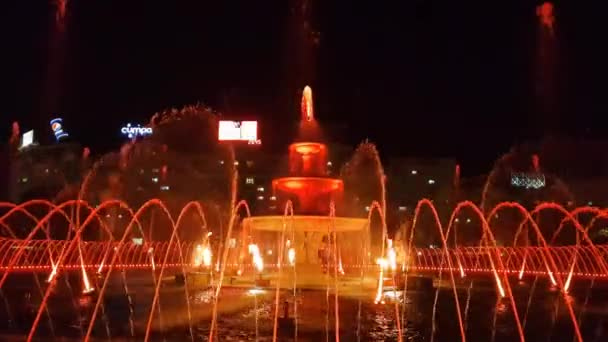 Bucharest, Romania - 28 October, 2018: Multimedia show in the fountains in Unirii Square. The spectacle with 17 water fountains started on 2018 and celebrates the 100 of the country.