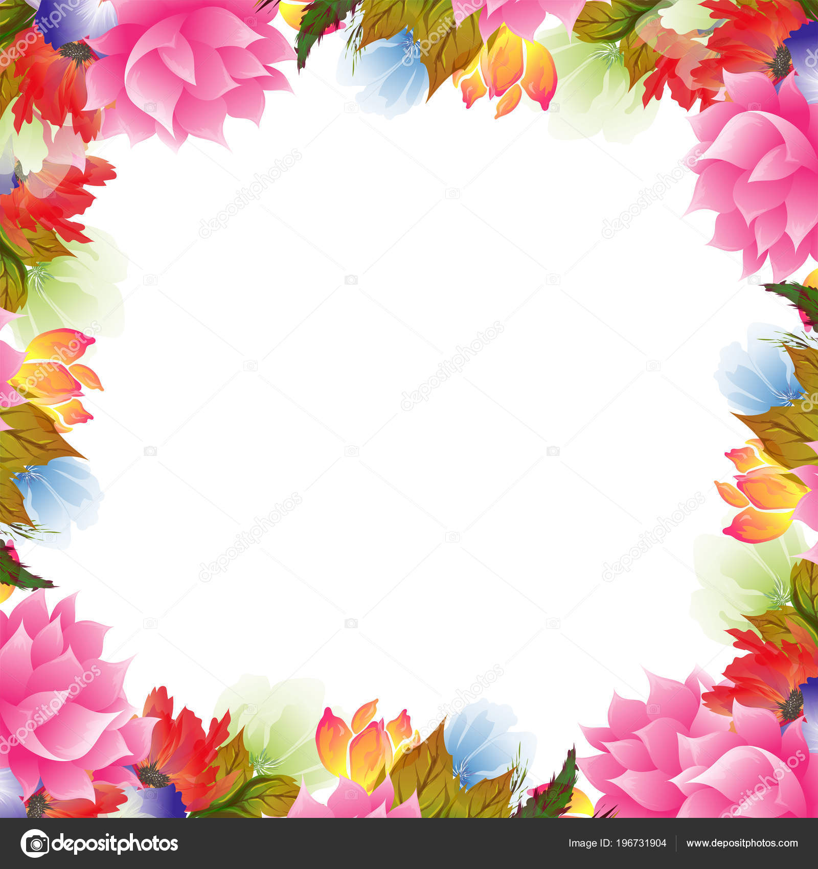 Beautiful Watercolor Flowers Decorated Background Can Used