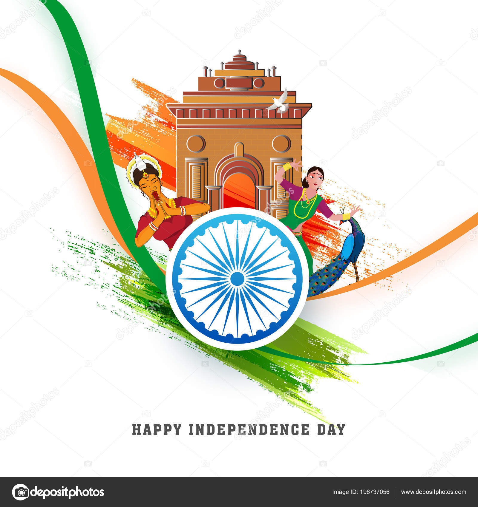 Indian Independence Day Celebration Concept Women Tradional
