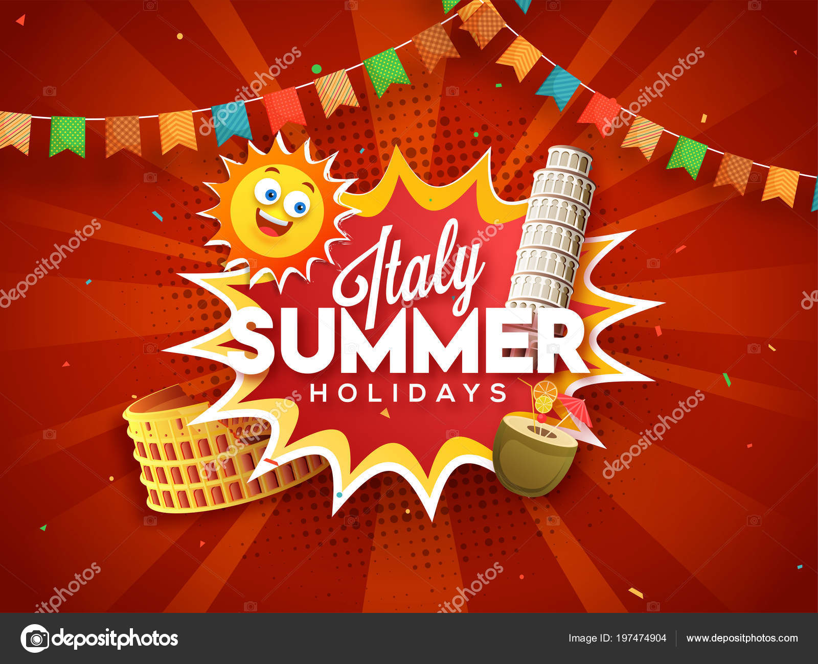 Italy Summer Holidays Concept Colosseum Pisa Tower Happy Sun
