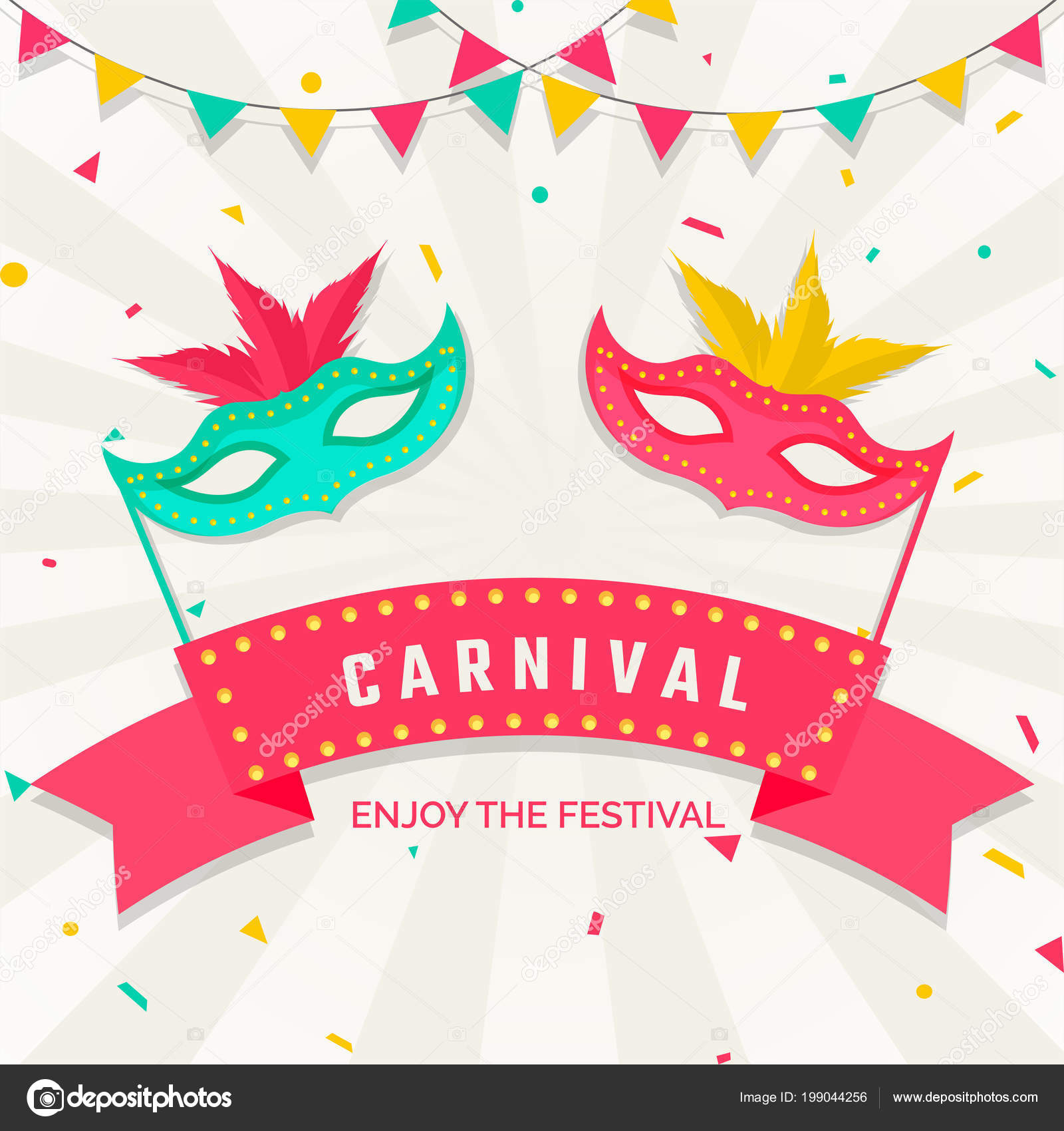 22ee9c1f2 Happy Karneval Slavnostní Nápis Nebo Plakát Barevnými Maškarní Masky  Prapory — Stockový vektor