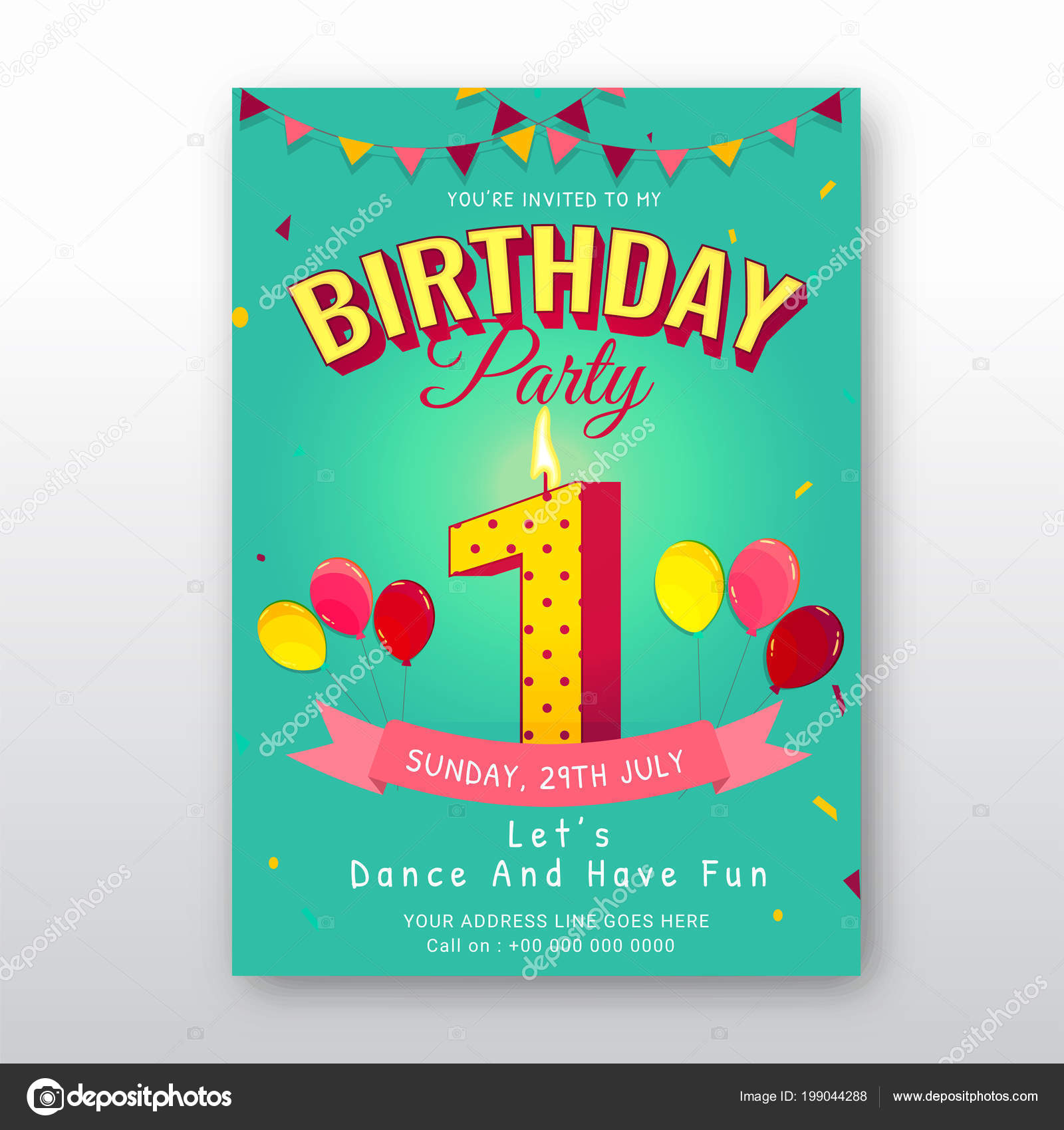 Birthday Card Invitation Template Number One 1St Birthday Celebration Card– stock illustration