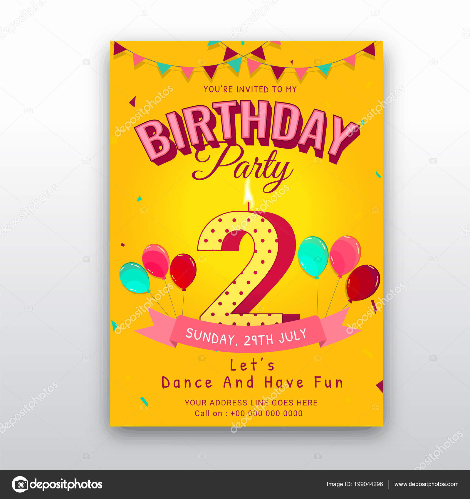 Birthday Card Invitation Template Number Two 2nd Birthday