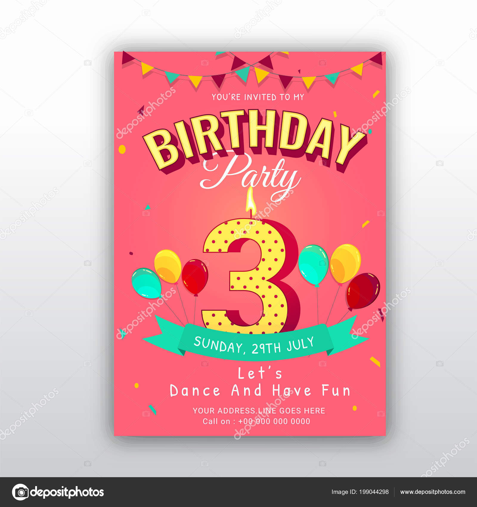 Birthday Card Invitation Template Number Three 3rd Birthday