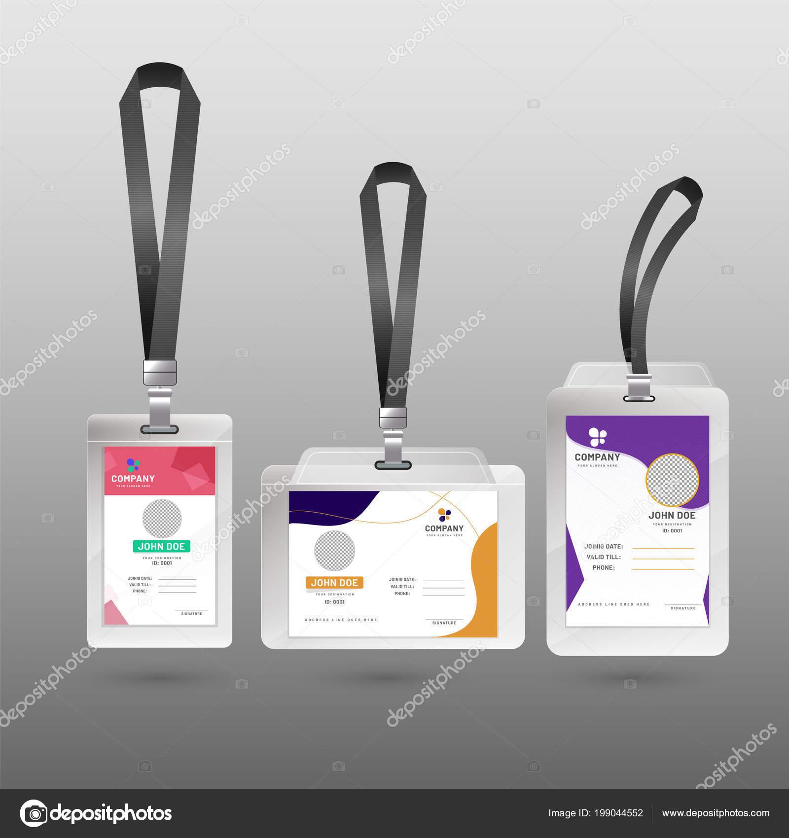 7095467ae Juego Coloridas Tarjetas Identificación — Archivo Imágenes Vectoriales