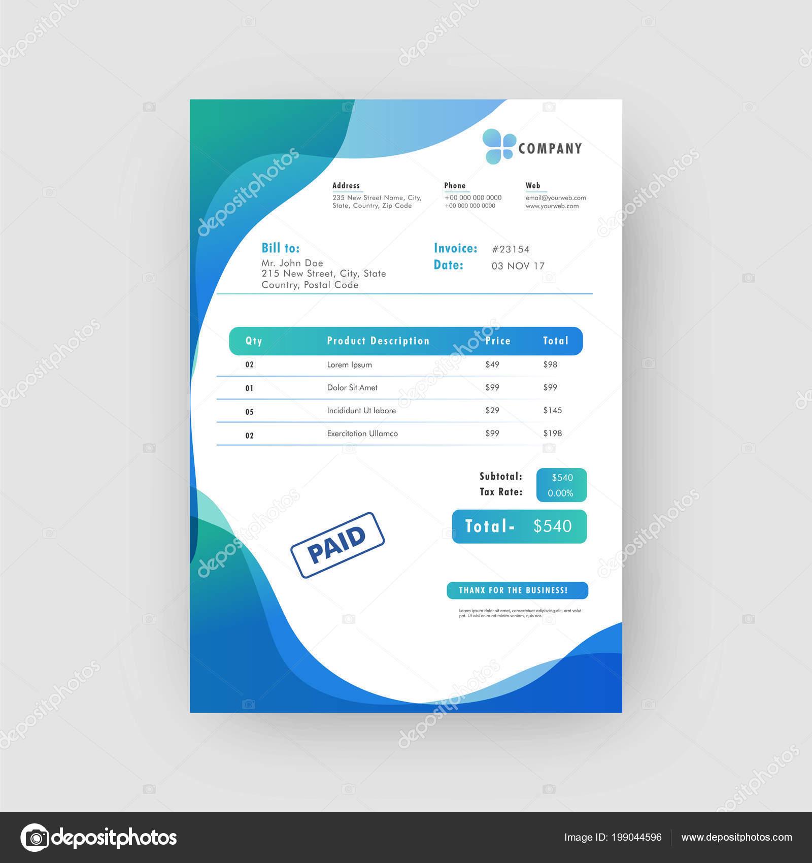 blue corporate invoice estimate template stock vector