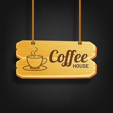 Hanging Coffee House Wooden Sign Board with Illustration of a hot coffee cup.