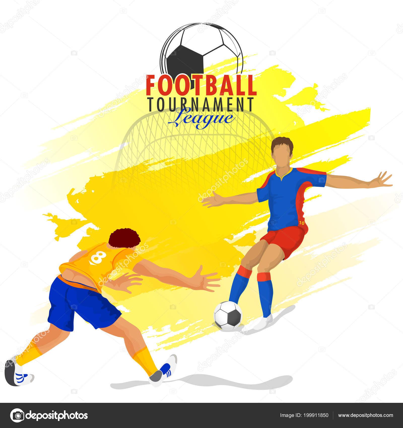 Football Tournament League Banner Poster Design Football Players Yellow Stroke Stock Vector C Alliesinteract 199911850