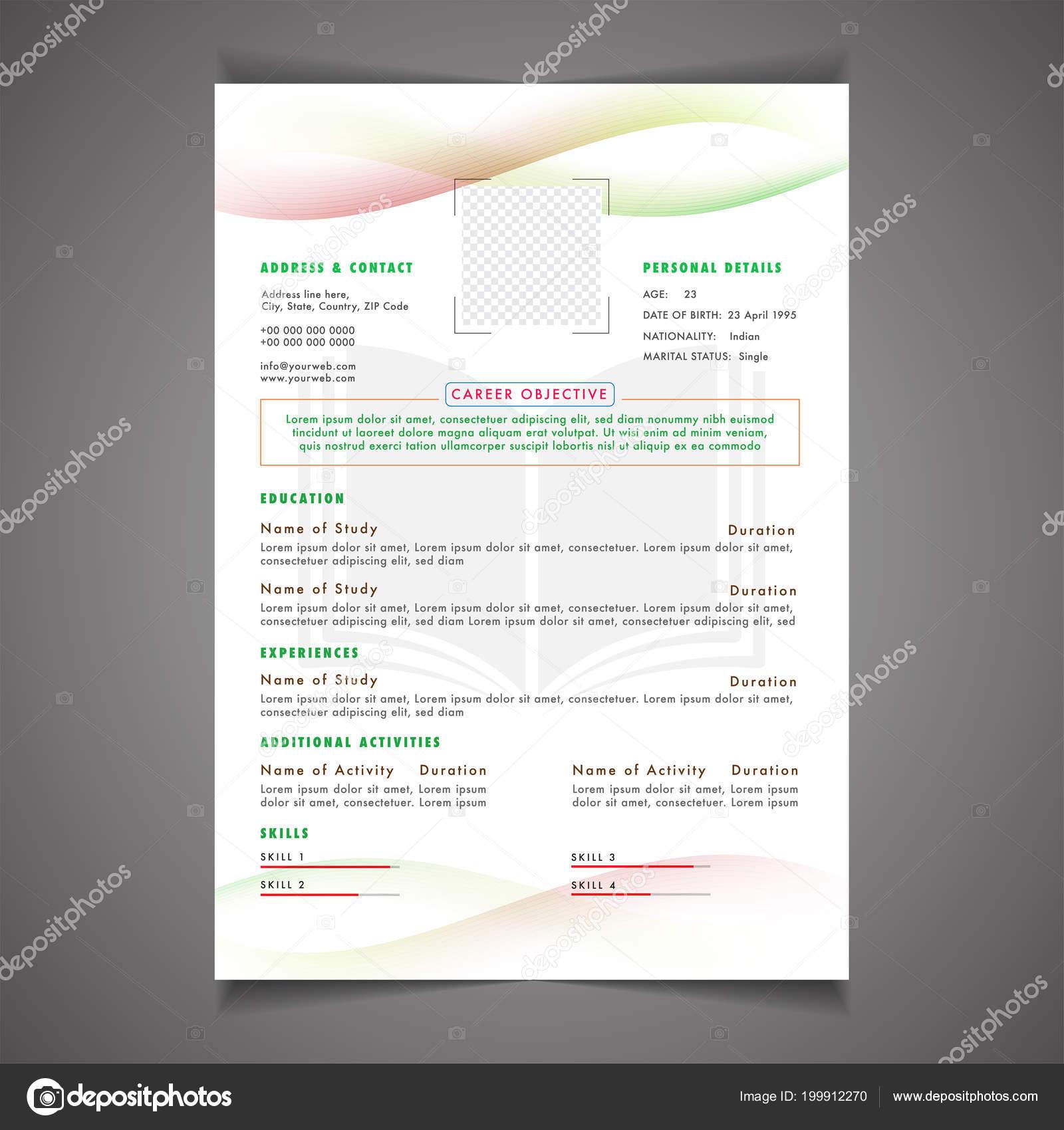 Scholarships Resume Template Design Letterhead Cover Letter Professional Placeholder Stock Vector