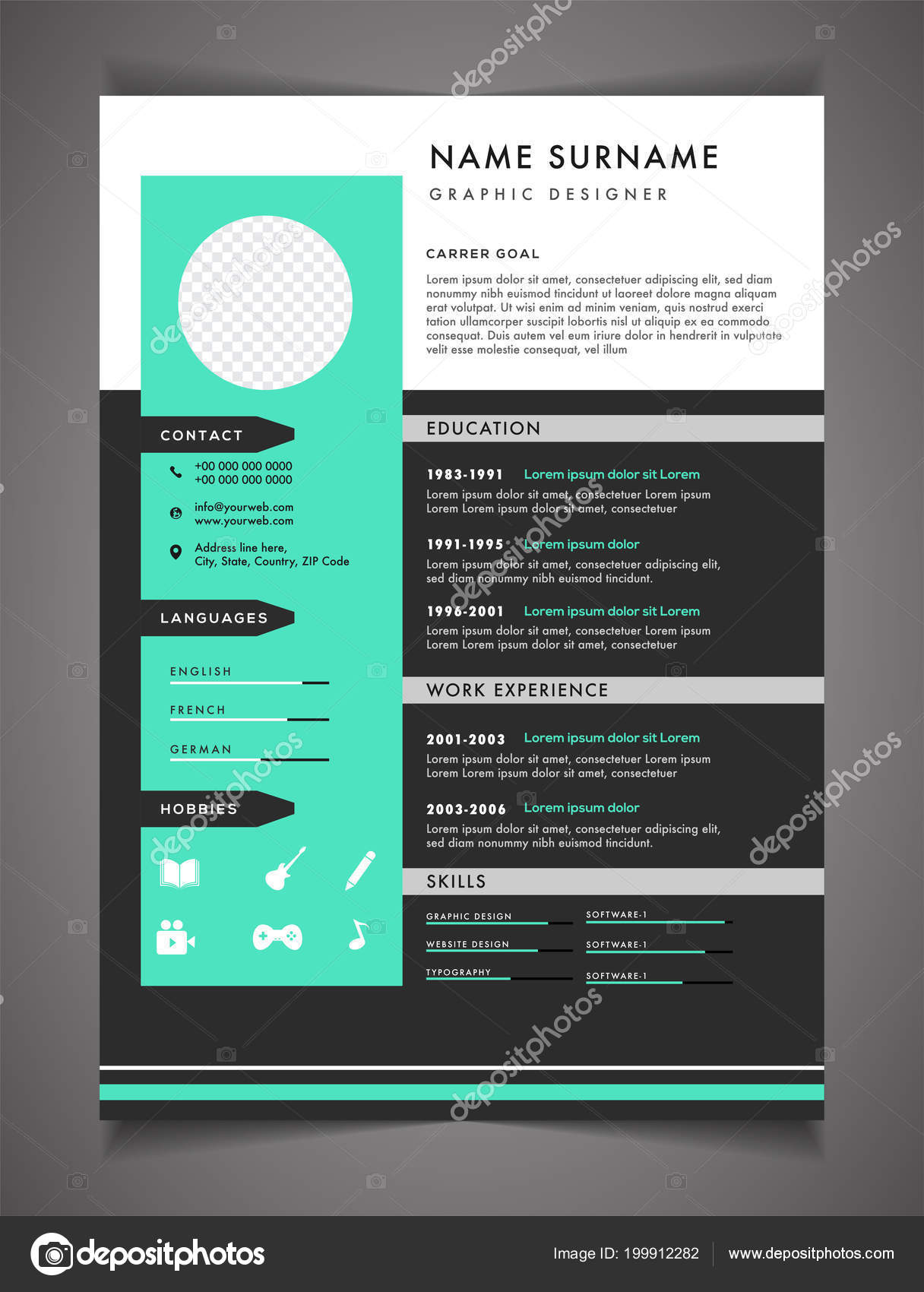 Resume Template Can Use Letterhead Cover Letter Professional Design ...