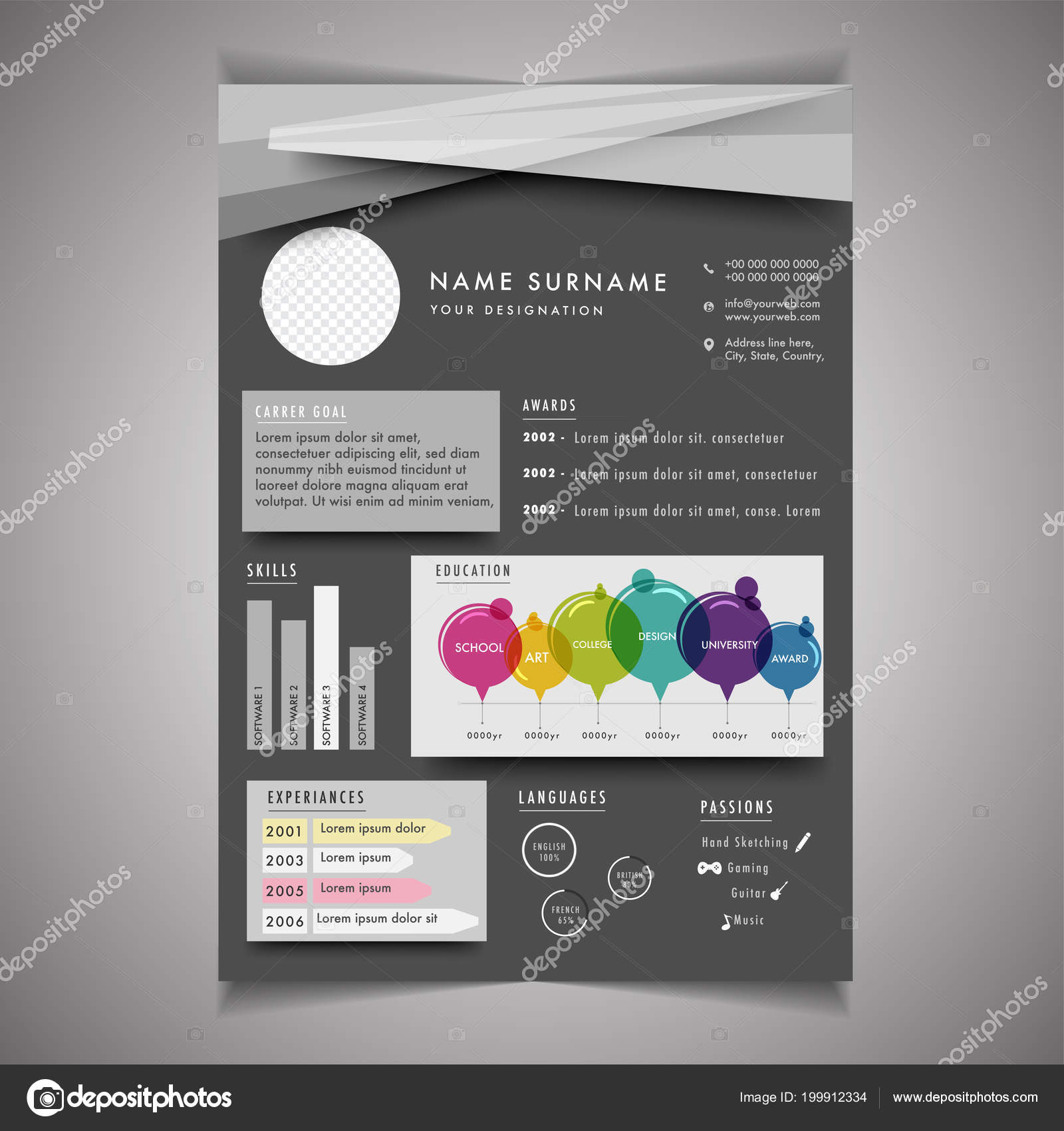 infographics resume template can use letterhead cover letter professional design stock vector