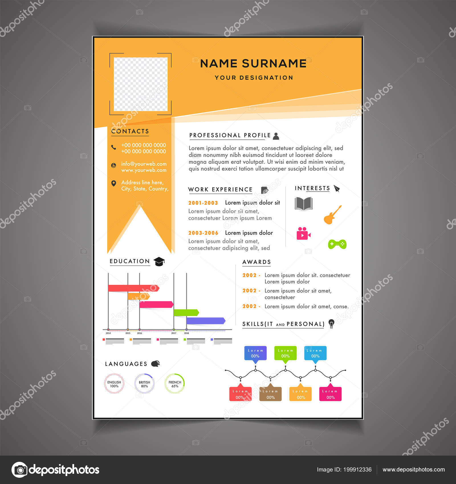 Infographics Resume Template Can Use Letterhead Cover Letter ...
