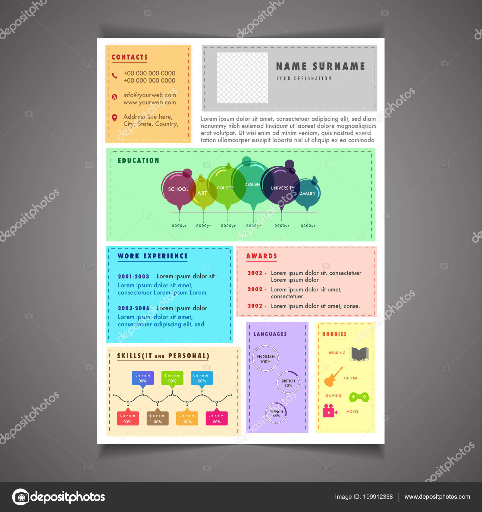 Infographics Resume Template Can Use Letterhead Cover Letter