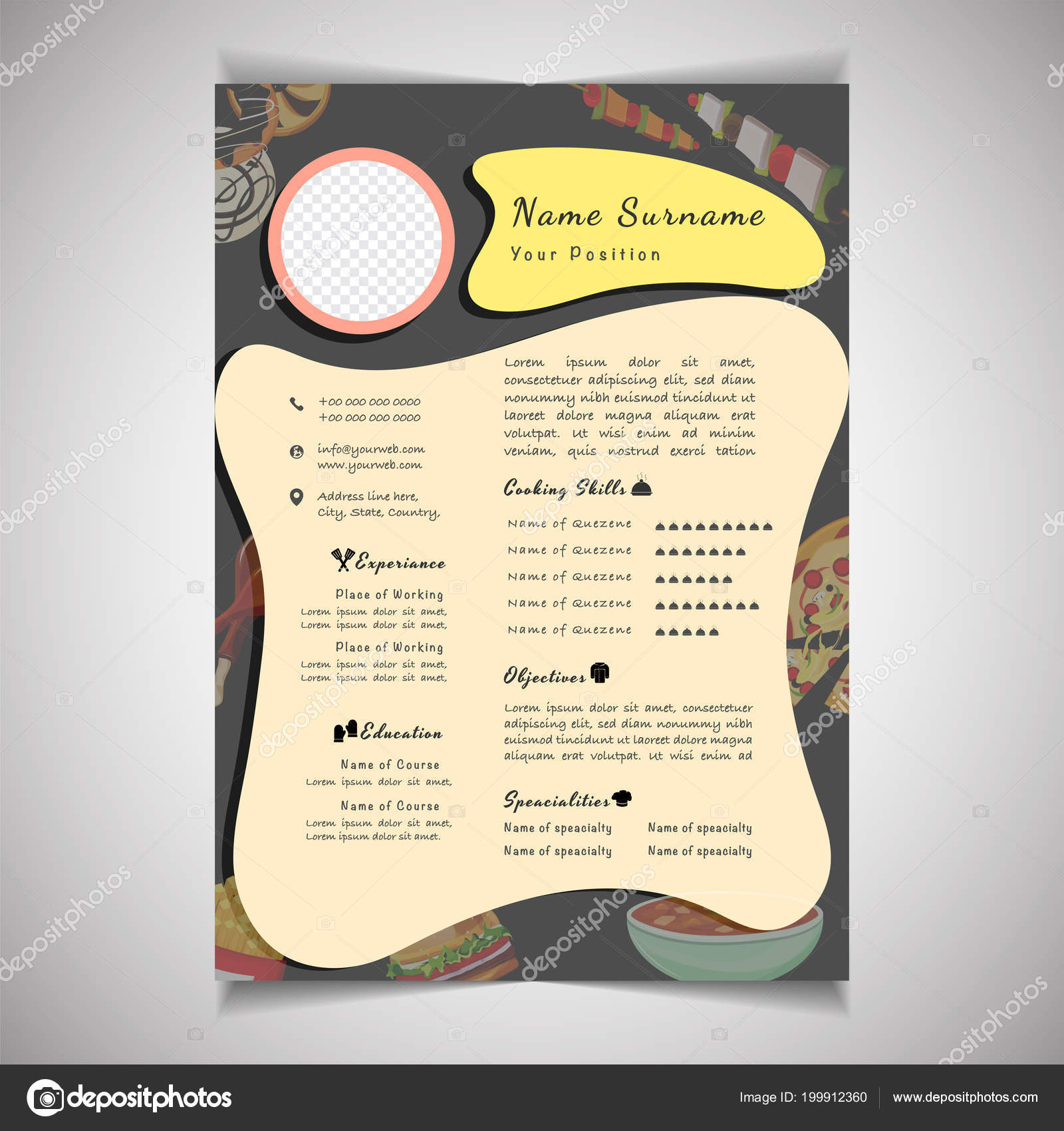 creative field resume template can be use as letterhead or cover letter professional cv design with placeholder vector by alliesinteract
