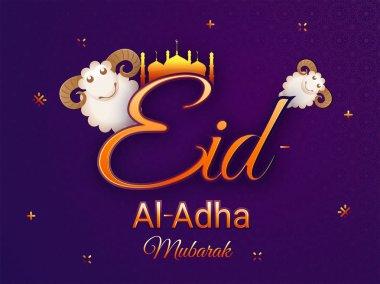 Eid-Al-Adha Mubarak, Islamic festival of sacrifice with illustration of happy sheep, golden mosque on purple background.