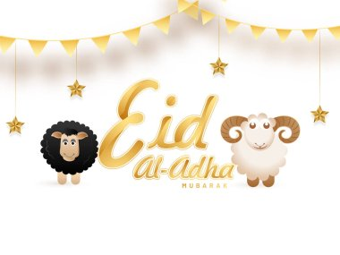 Golden text Eid-Al-Adha, Islamic festival of sacrifice concept with happy sheep, hanging stars on white background.