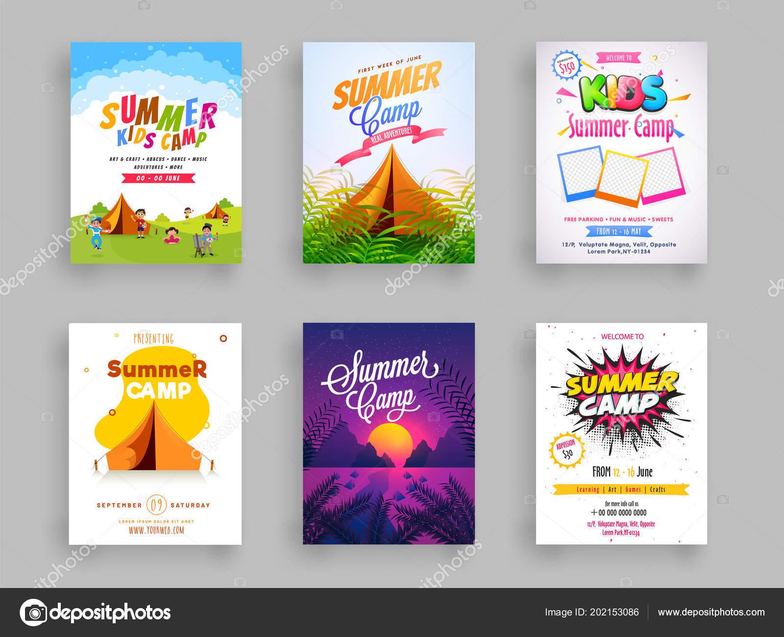 set summer camp flyer template design vector illustration colorful