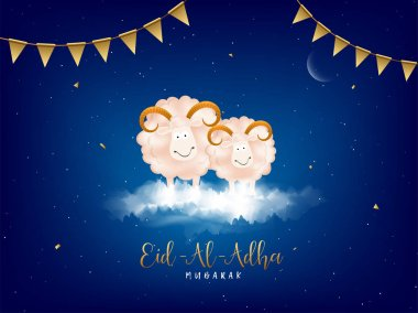 Eid-Al-Adha, Islamic festival of sacrifice concept with happy sheep and golden bunting flags on blue cloudy background.
