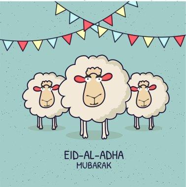 Eid-Al-Adha Mubarak, Islamic festival of sacrifice with illustration of happy sheep,  and bunting flags. Line-art illustrations.