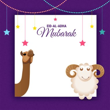 Eid-Al-Adha Mubarak, Islamic festival of sacrifice with illustration of happy sheep,  and camel and space for your wishes.