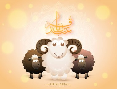 Arabic calligraphy text Eid-Ul-Adha with black and white sheep on bokeh background for Muslim community festival of sacrifice.