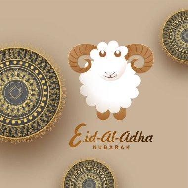 Eid-Al-Adha, Islamic festival of sacrifice concept with sheep and golden mandala design. Eid-Al-Adha Mubarak.