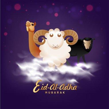 Eid-Al-Adha Mubarak, Islamic festival of sacrifice concept with happy sheep, camel and buffalo on cloudy, bokeh background.