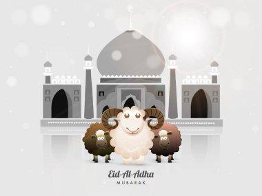Islamic festival of sacrifice with happy sheep, glossy grey mosque for Muslim community festival of sacrifice, Eid-Al-Adha Mubarak celebration background.