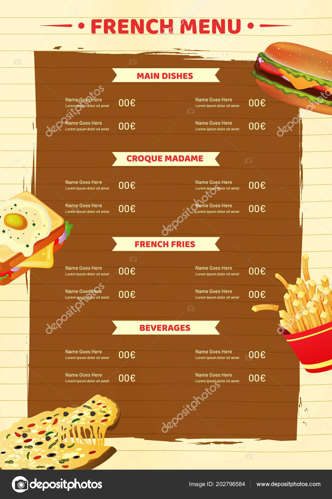 French Menu Card Template Flyer Design Fast Food Restaurant Stock