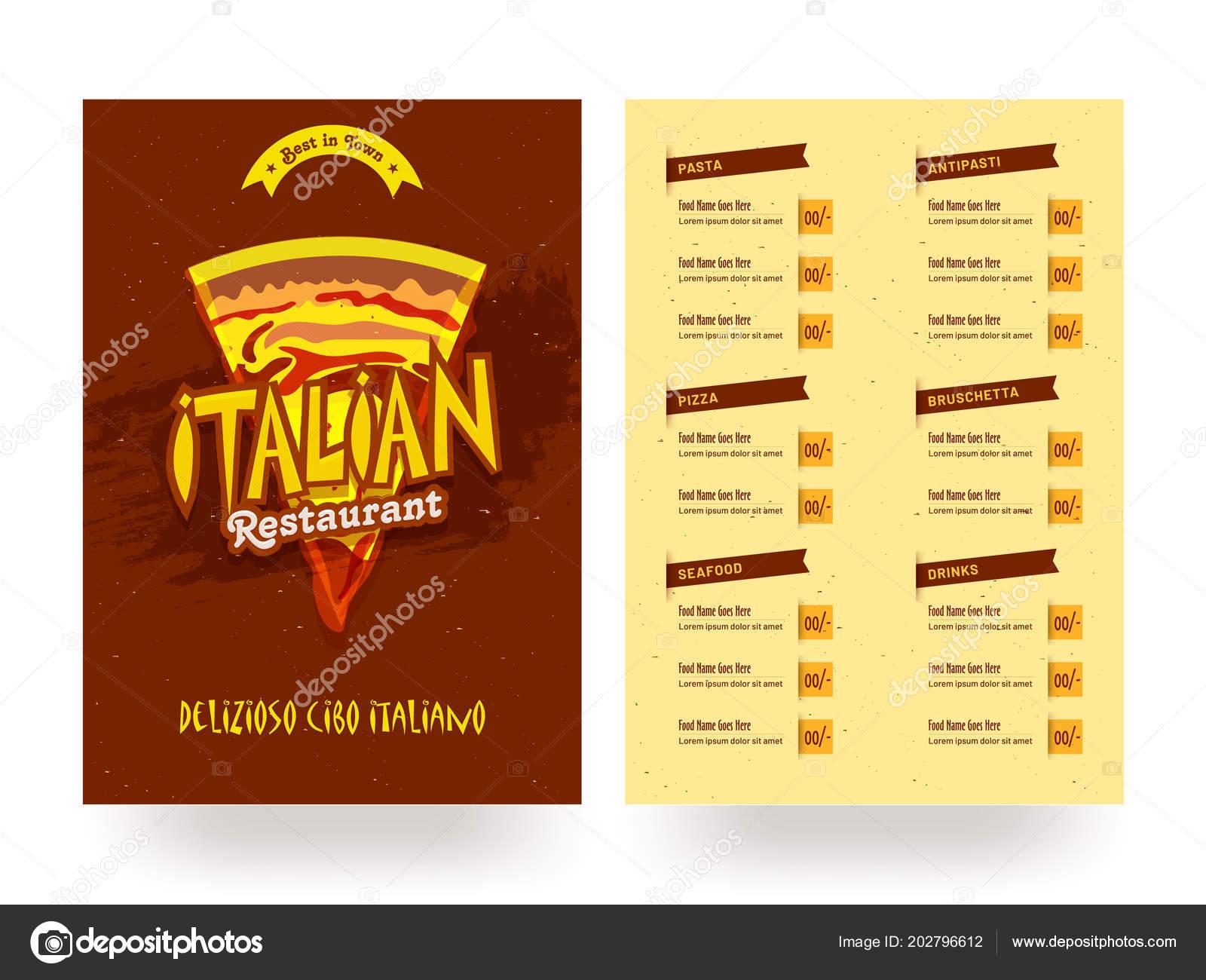 Menu Card Design For Hotel Italian Restaurant Menu Card Template Flyer Design Stock Vector C Alliesinteract 202796612