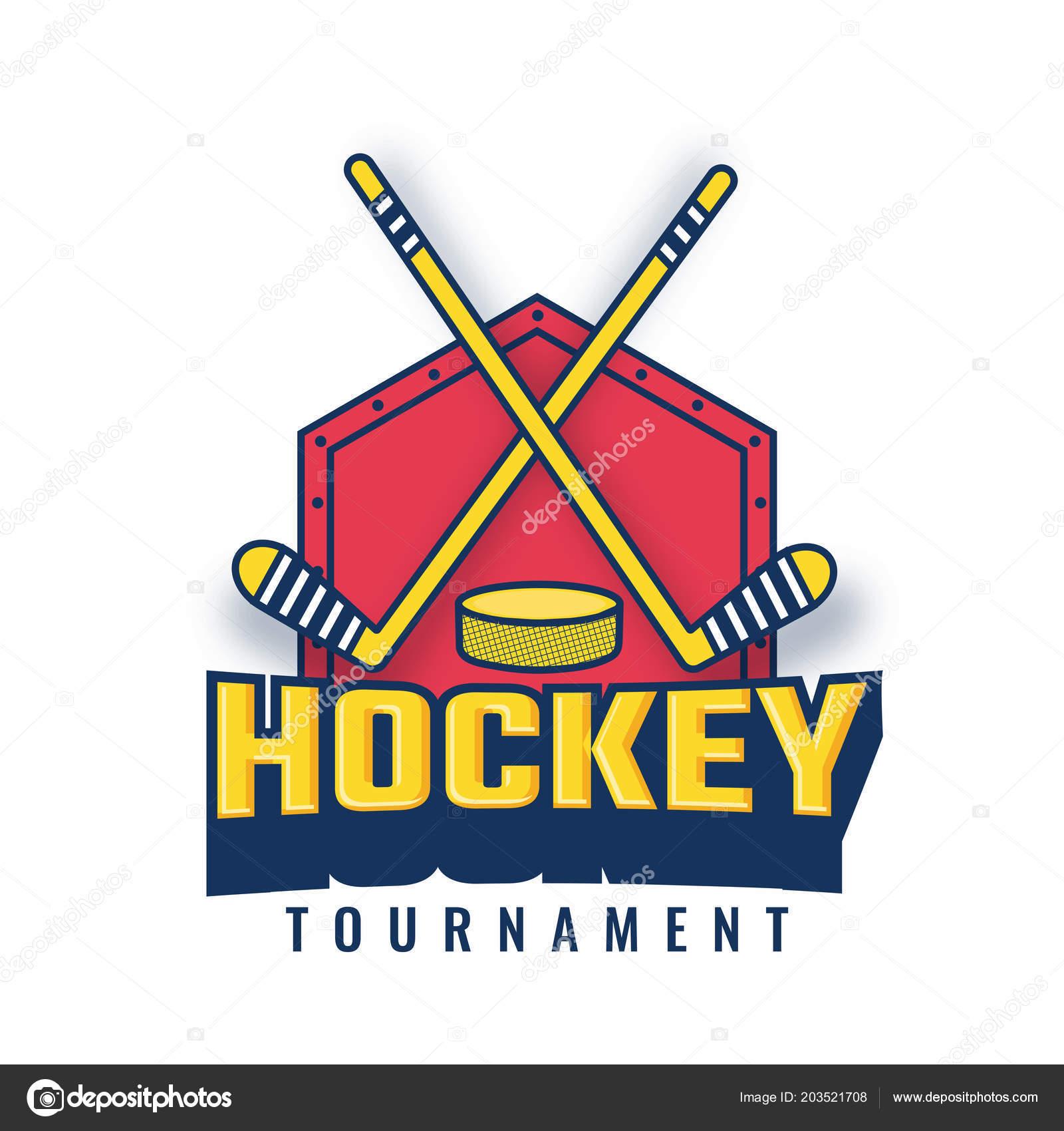 Vector Illustration Hockey Stick Puck Hockey Tournament Badge Logo