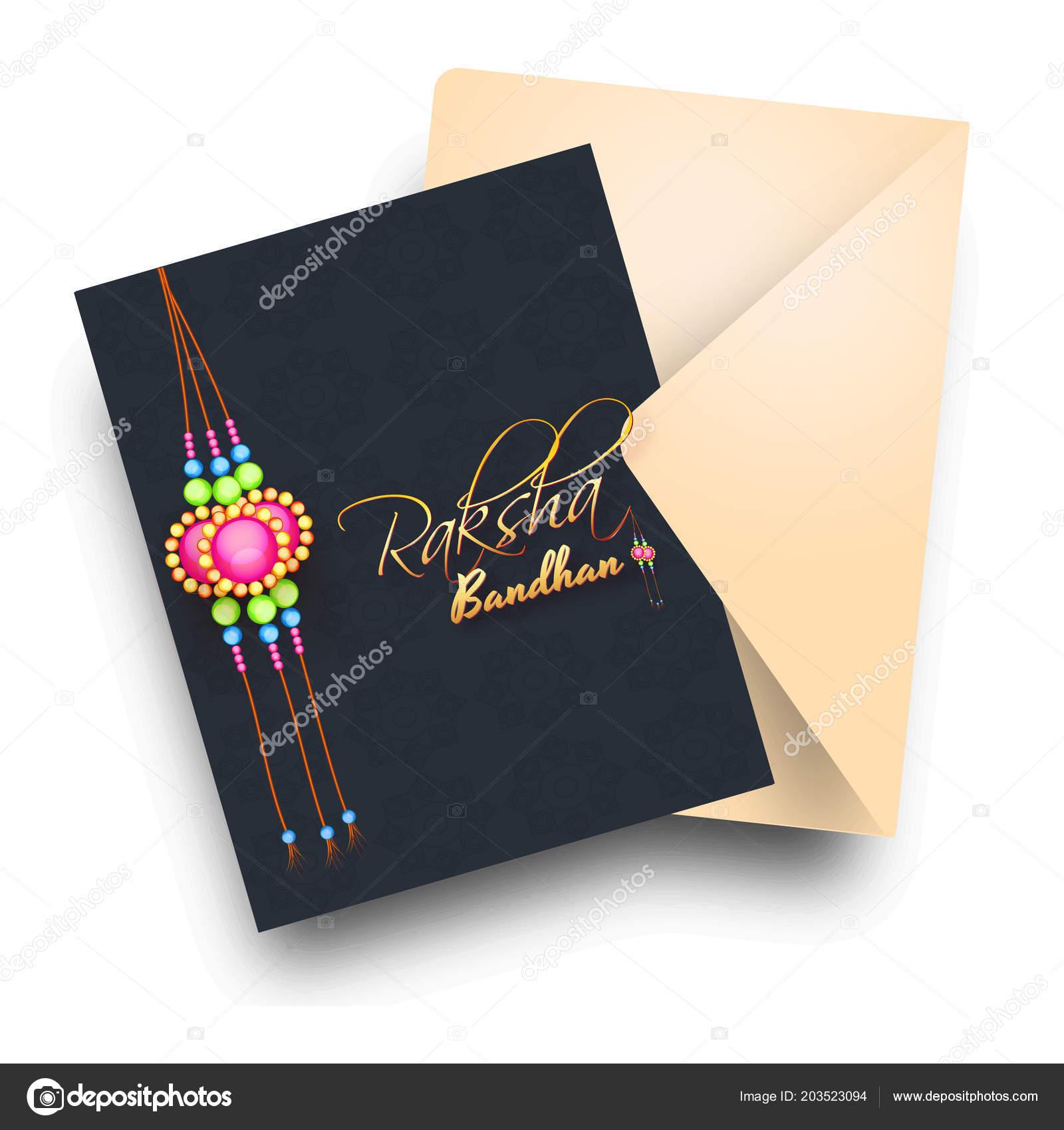 Happy raksha bandhan black greeting card design beautiful rakhi happy raksha bandhan black greeting card design beautiful rakhi wristband stock vector m4hsunfo