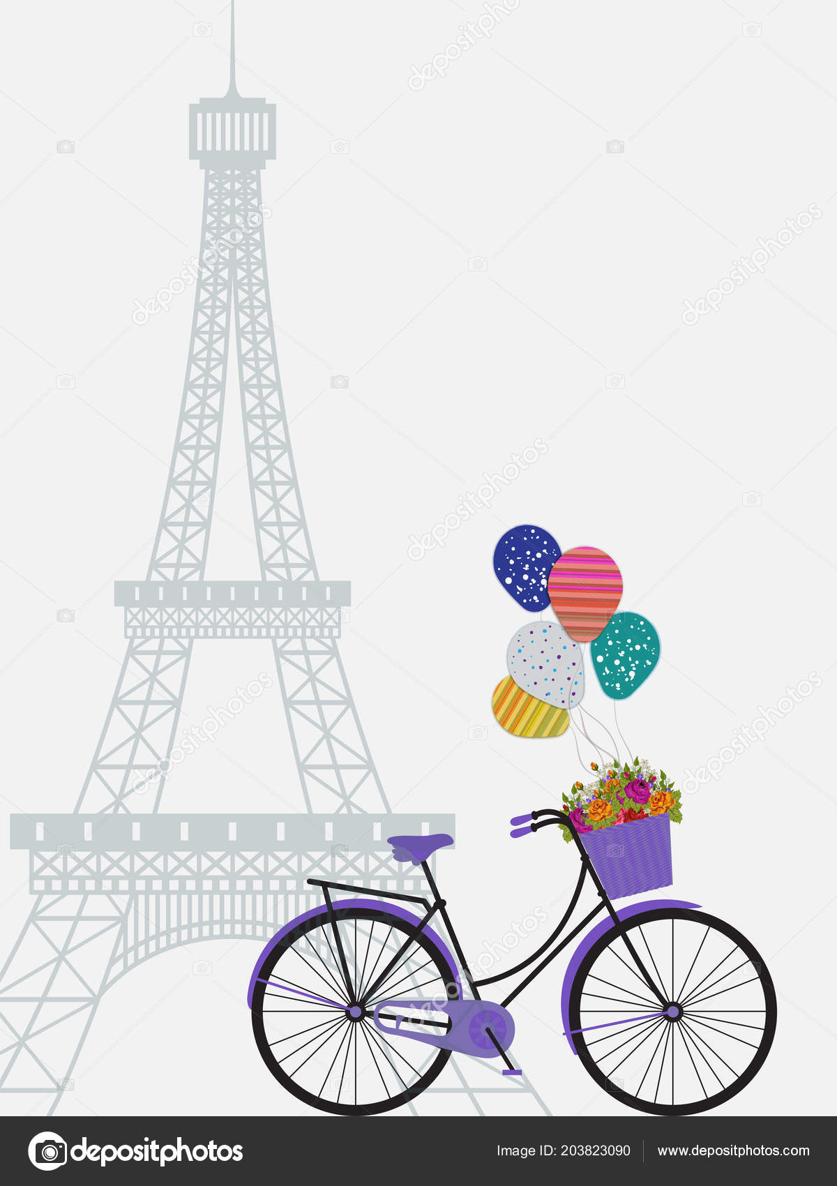 white greeting card template design eiffel tower purple bicycle