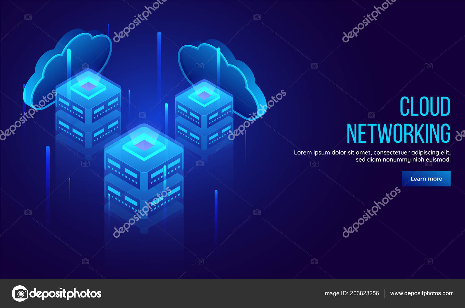 Three Local Servers Connected Cloud Server Emerging Shiny Digital
