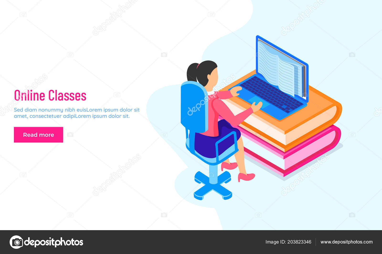 Responsive Landing Page Hero Banner Design Girl Character Learning Online Stock Vector C Alliesinteract 203823346