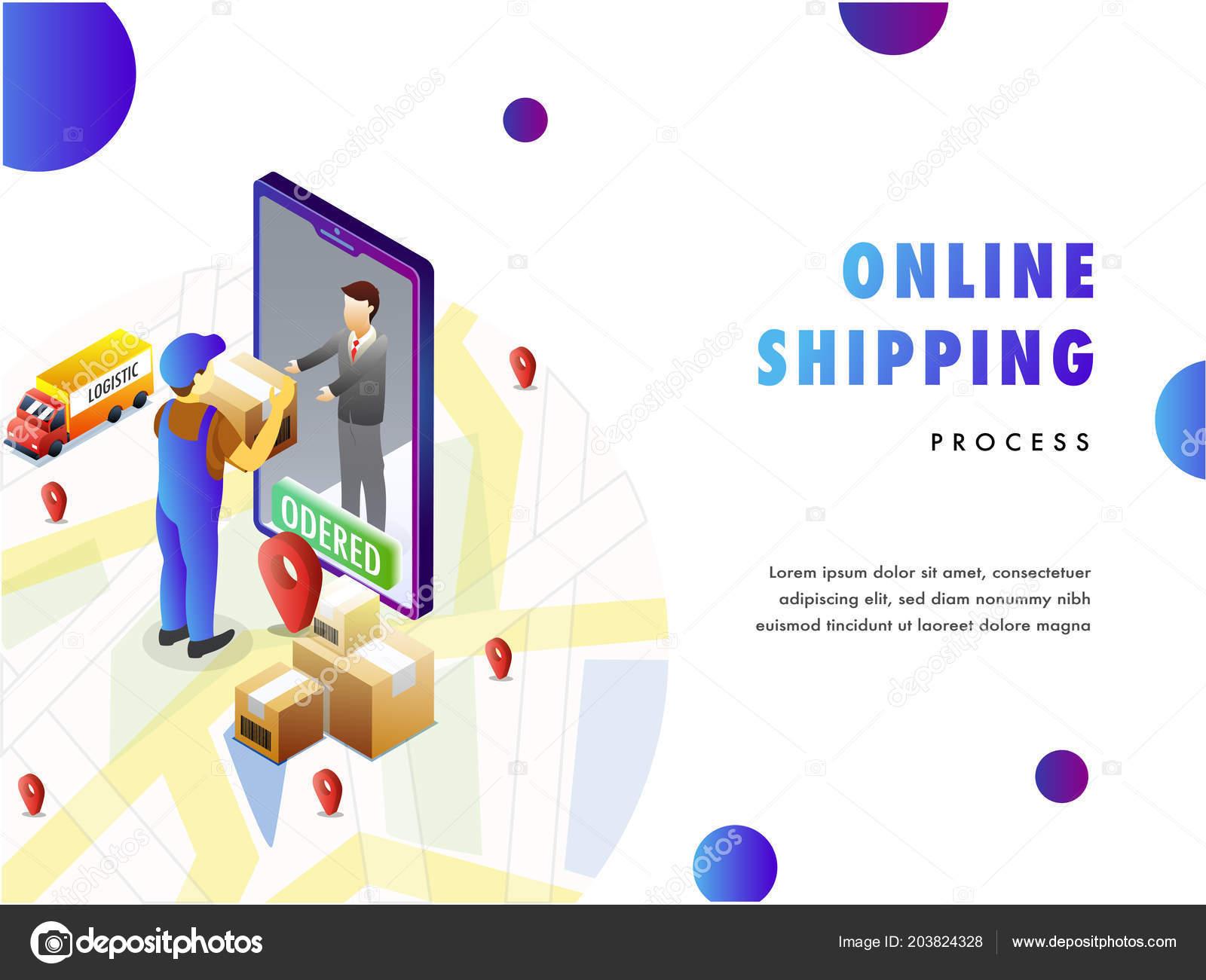 online delivery concept isometric design delivery buy delivering product door. Black Bedroom Furniture Sets. Home Design Ideas