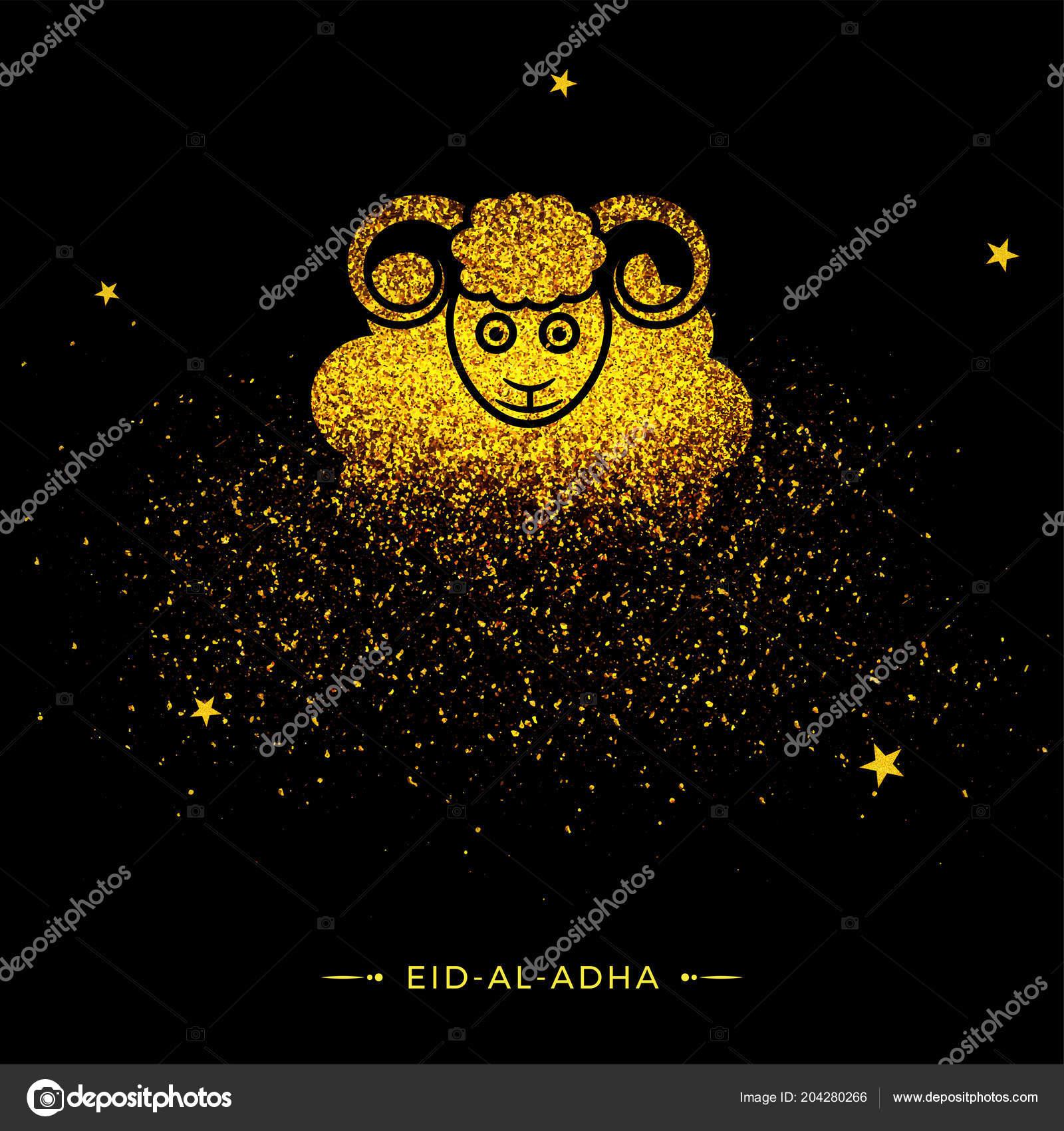 Black Greeting Card Design Illustration Sheep Made Golden Grunge