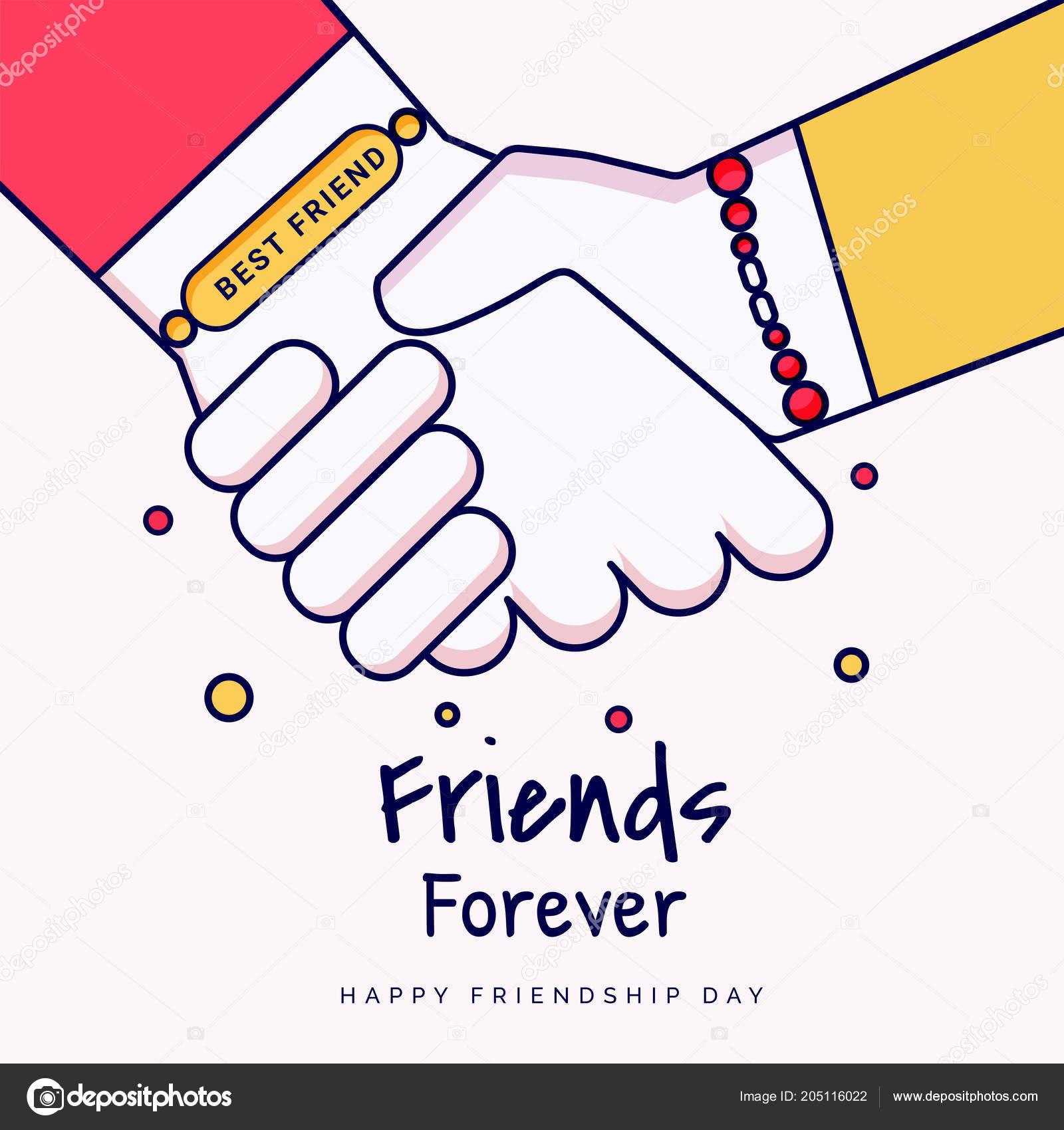 Friends Forever Greeting Card Design Hands Shaking Illustration