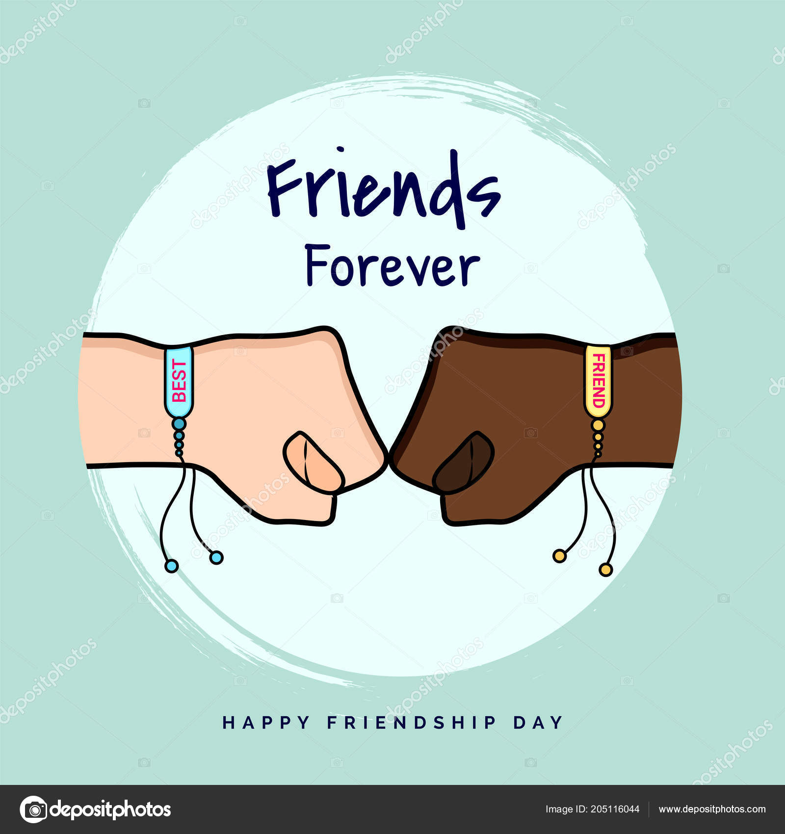 Friends Forever Greeting Card Design Two Fists Punching Each Other