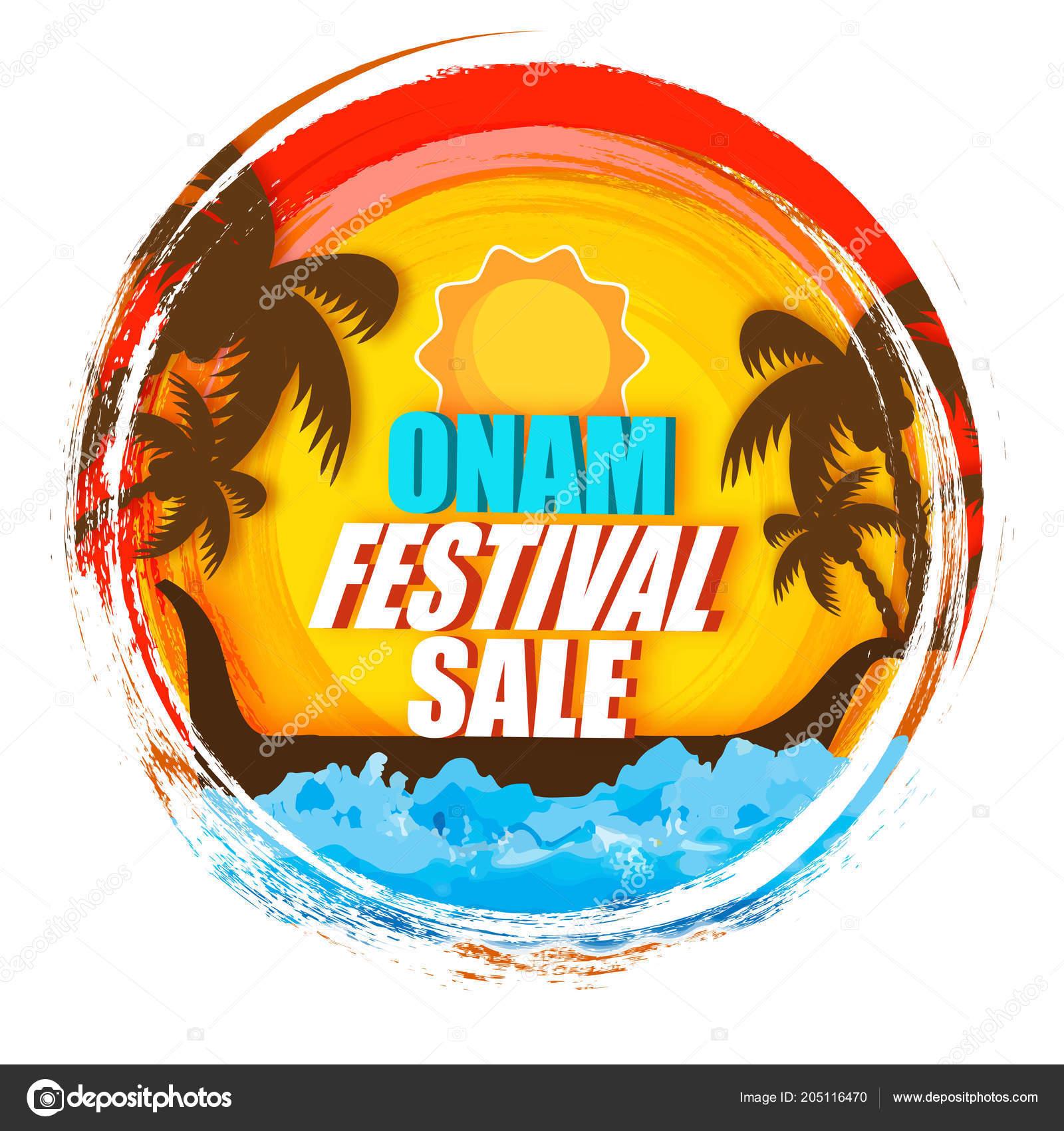 Onam Festival Sale Banner Poster Design Nature View Background Stock Vector