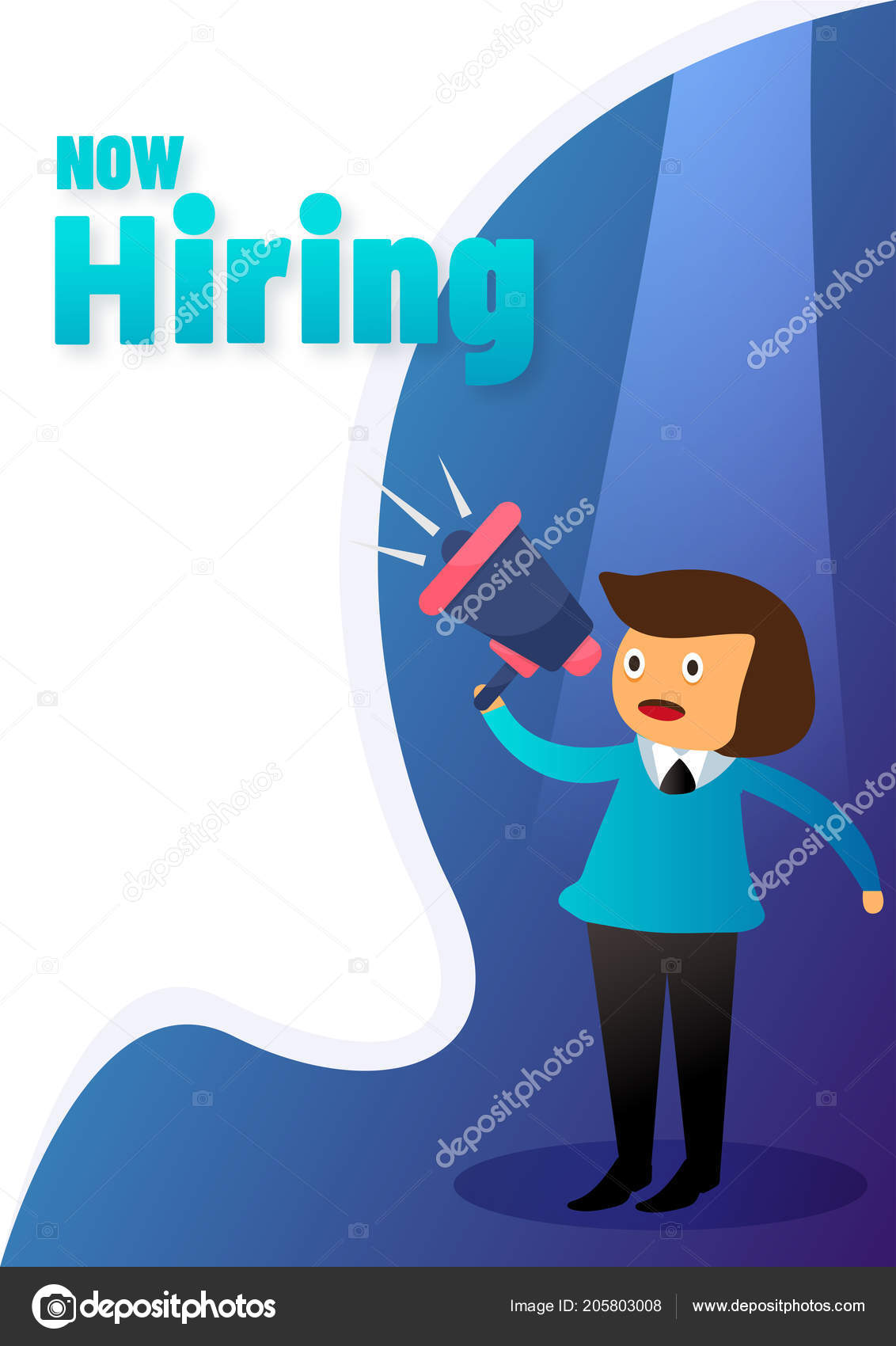 now hiring poster template design lady holding megaphone